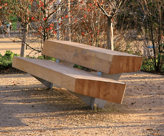 Santa & Cole Trapecio bench - made from two large beams