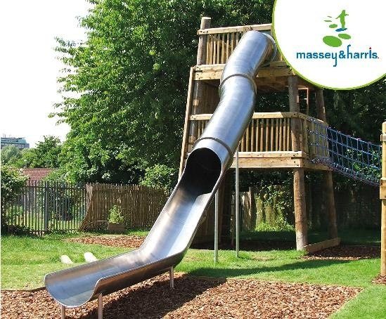 Stainless steel tunnel slide from timber tower