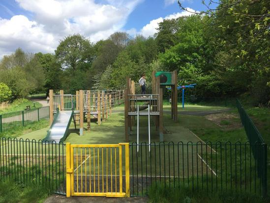 Play equipment, bow-top fencing and self-closing gate