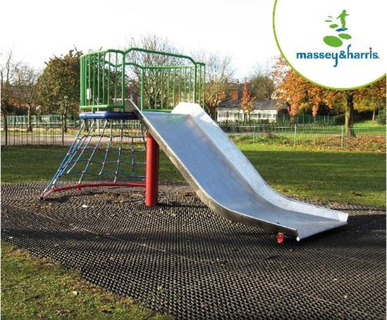 Free Standing Extra Wide Trough Slide with Climbing Net