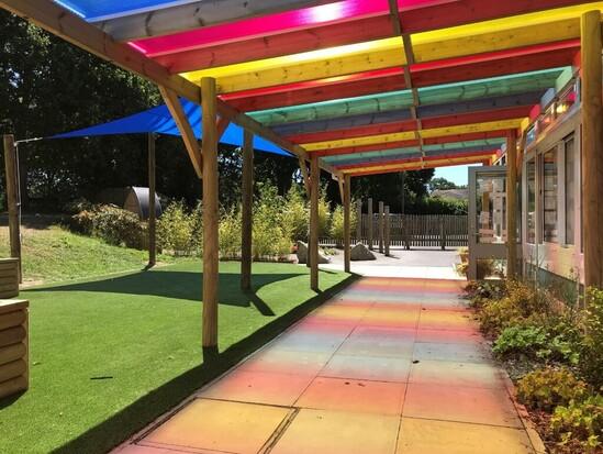 Pergola with coloured roof
