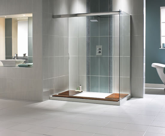Aquaspace walk through shower with side panel aqualux for Walk through shower plans