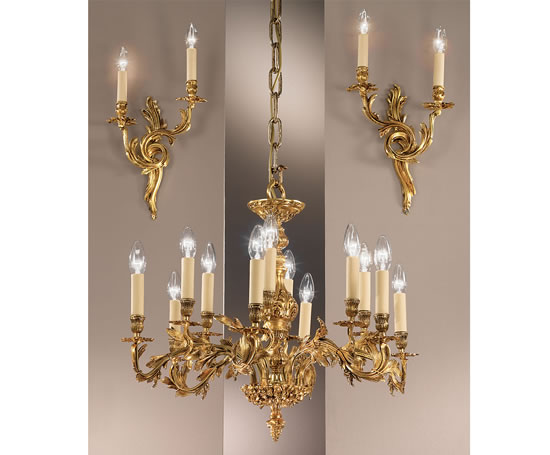 Versailles rococo louis xiv style brass chandelier christopher versailles chandelier with co ordinating sconces mozeypictures Choice Image