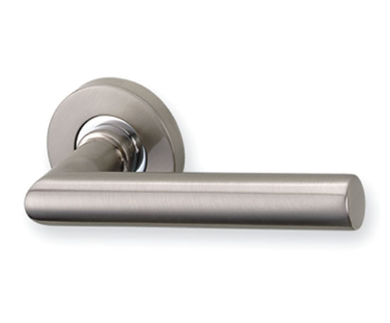 Round rose lever door handles danico brass esi for Door handle in german