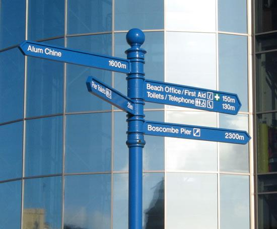 Guildford fingerpost signage with ball finial, Bournemo