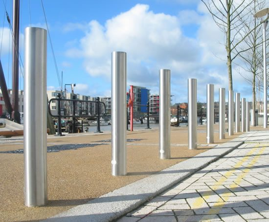 Zenith® satin stainless steel bollards