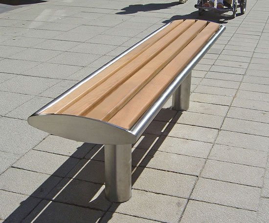 Zenith® stainless steel bench & iroko timber slats
