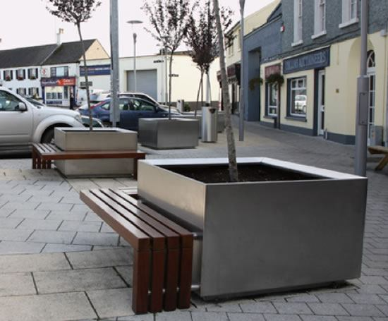S57 Stainless Steel Tree Planter With Timber Bench Omos