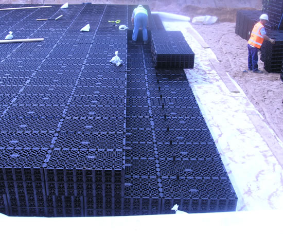 Polystorm water storage cells for non-trafficked areas