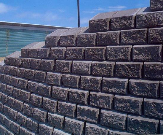Granite Faced Blocks : Chevloc split faced precast concrete retaining wall