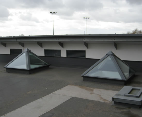 Aluminium glazed pyramid rooflights