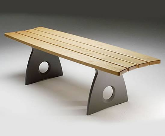 Smart Alex aluminium bench with timber seat slats