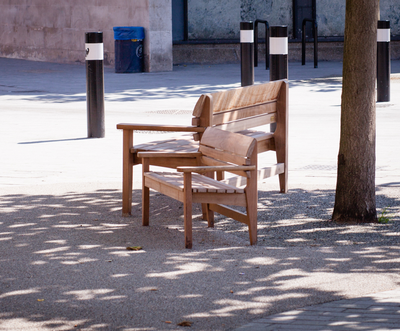 Chico adult and child timber seating - Catford Broadway