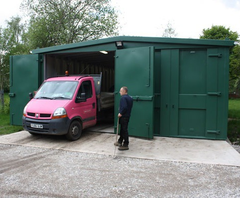 Secure storage unit for cemetery maintenance depot