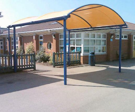 School playground canopy Rosslyn Park Primary School & Ascot barrel vault canopy | Clovis Canopies | ESI External Works