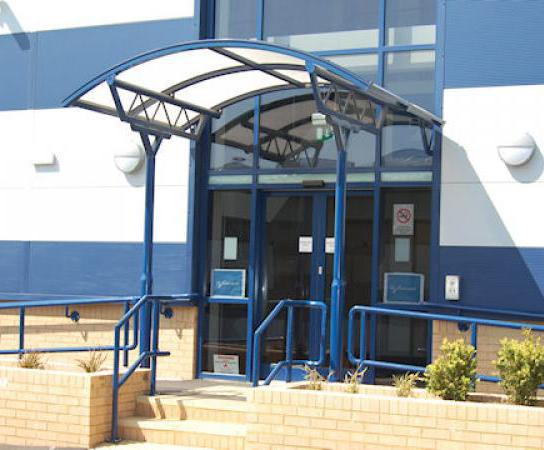 Entrance canopy Westfield Business Park & Apollo entrance canopy | Clovis Canopies | ESI Building Design