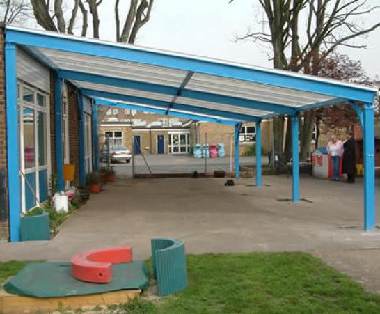 Playground canopy St Francis De Sales Infant School & Keston mono-pitch canopy shelter | Clovis Canopies | ESI External ...