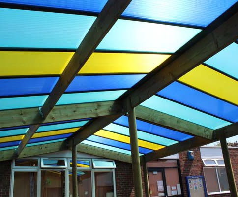 Rainbow canopy with coloured polycarbonate sheets | Setter Shelters ...