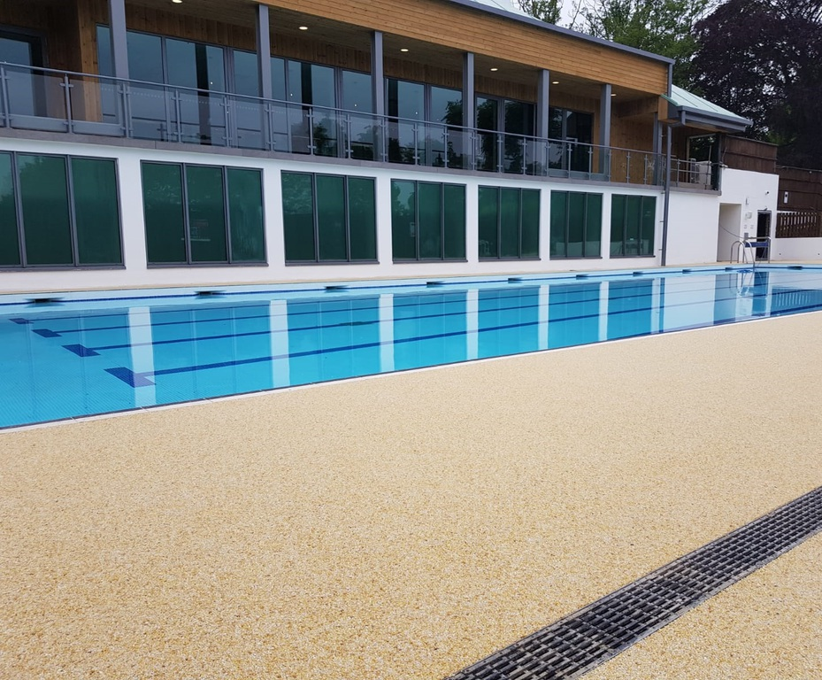 Resin bound surface for gym\'s swimming pool surround ...
