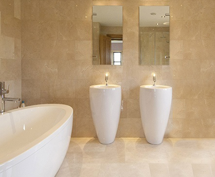 Linear honed cream marble floor and wall tiles | Indigenous | ESI Interior  Design