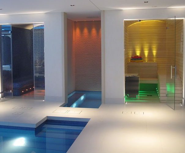Sauna and steam room for luxurious residential spa