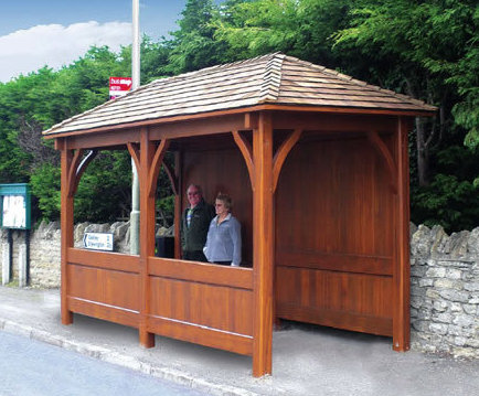 Enclosed timber bus shelters with pitched roof | Littlethorpe of