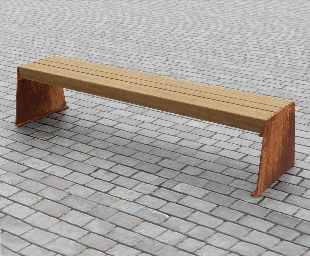Slab Side Corten Steel And Up Cycled Greenheart Bench Chris