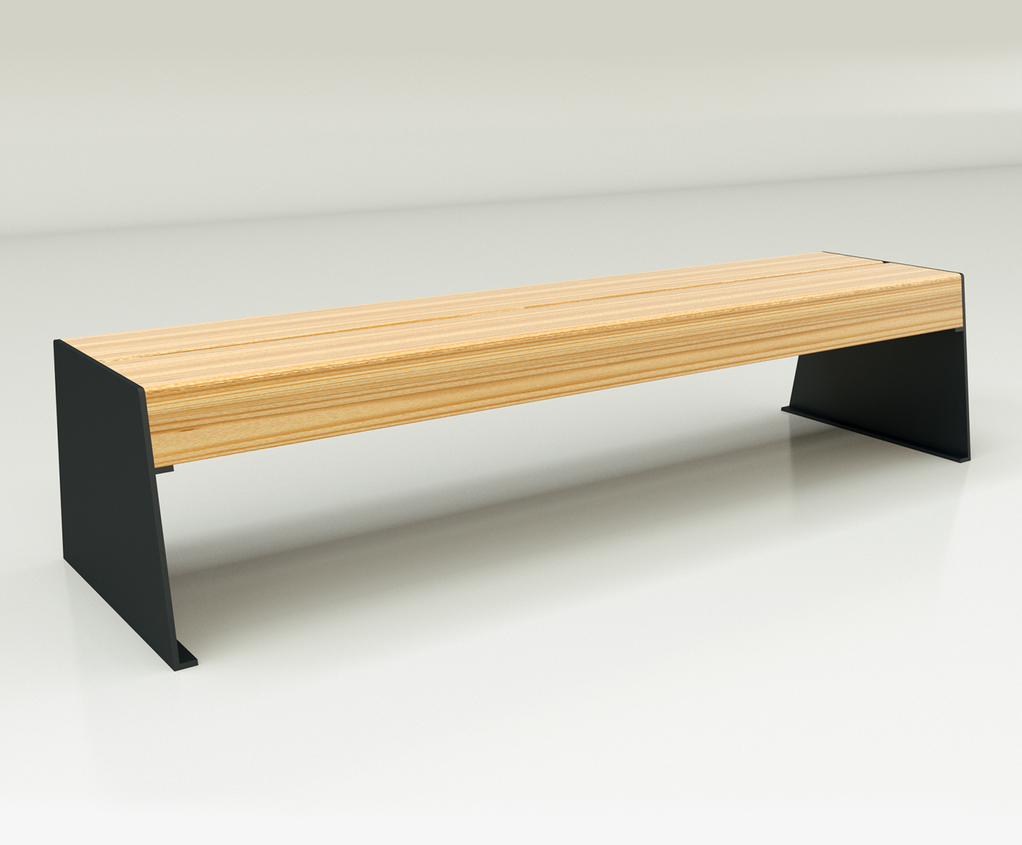 Slab Side Timber And Steel Contemporary Bench Chris Nangle