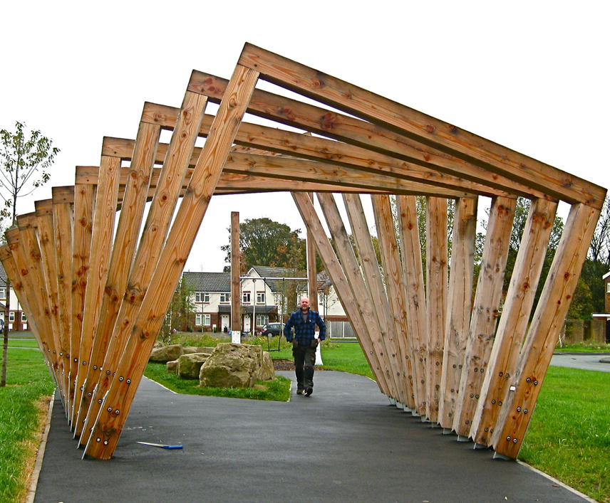Twisting Frame and Swing Seat in Douglas fir - Twisting Frame Timber Pergola Handspring Design ESI External Works