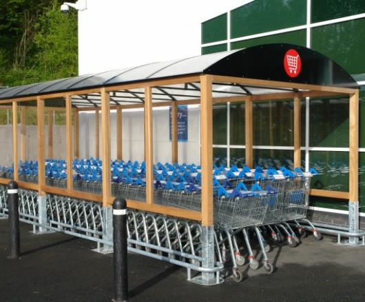 Mark III glazed mild steel and iroko trolley enclosure