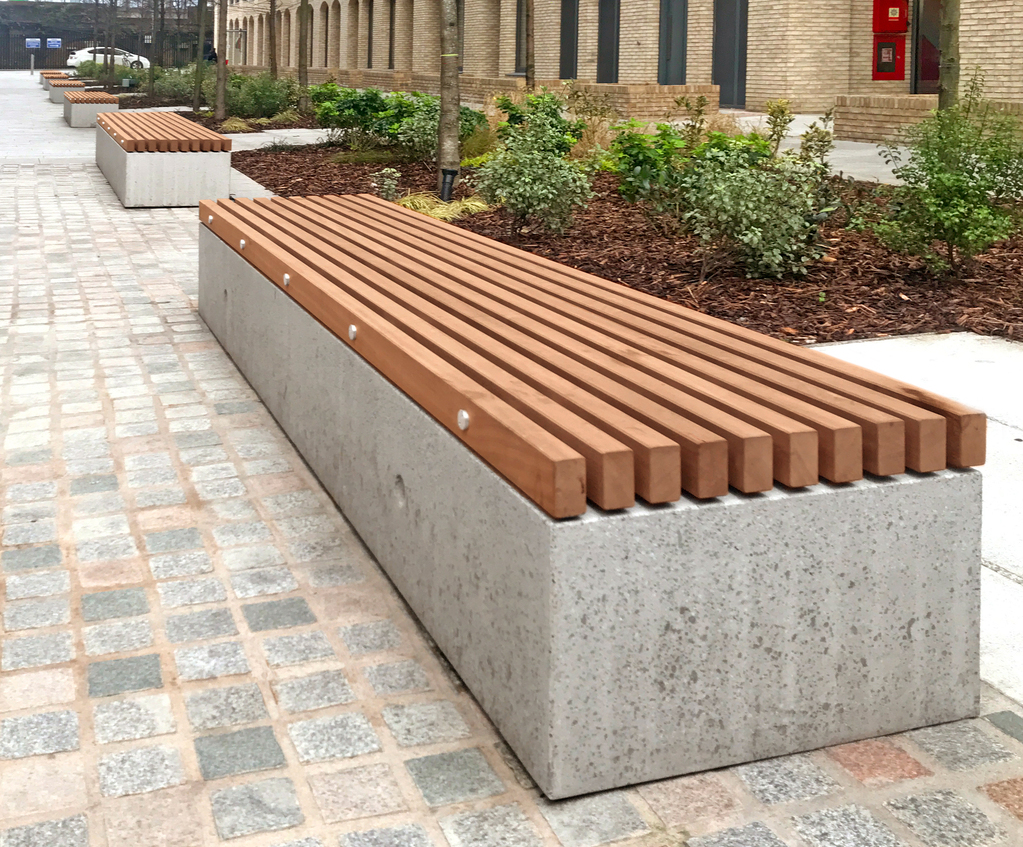 Soca Concrete And Timber Bench Factory Furniture Esi External Works