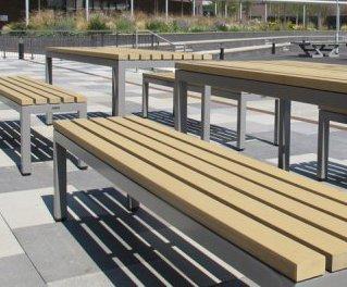 Sensational Parallel Steel And Iroko Hardwood Bench Furnitubes Ibusinesslaw Wood Chair Design Ideas Ibusinesslaworg