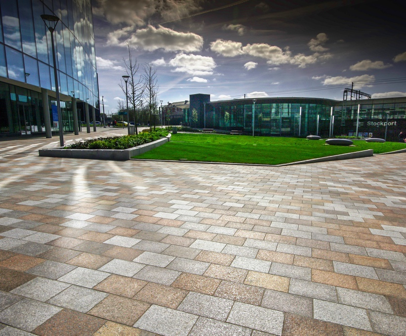 High-quality coloured granite paving for businesss hub