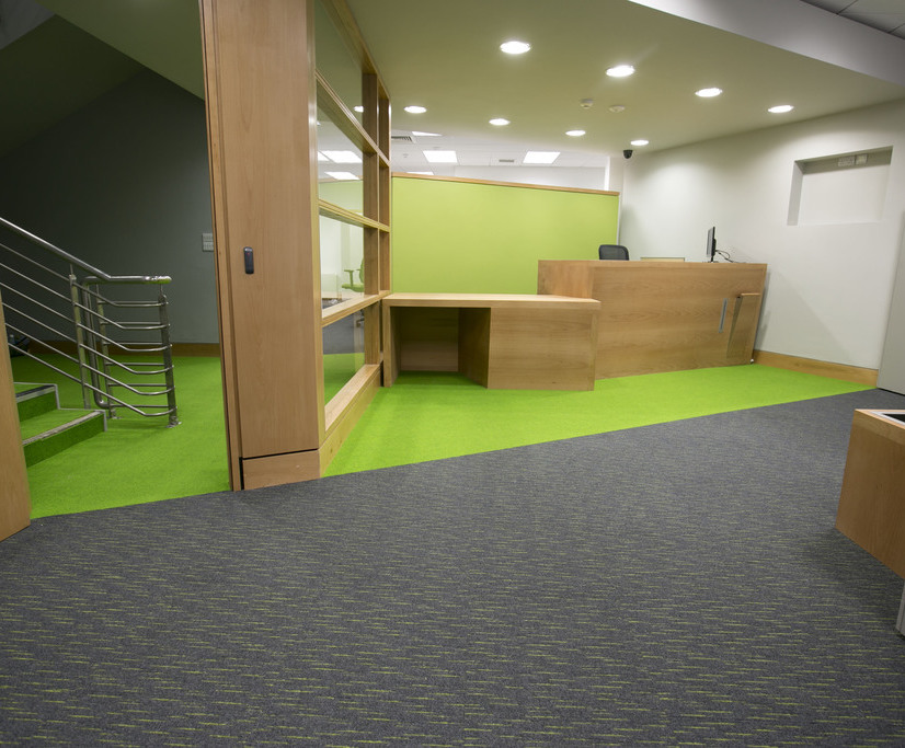 Heckmondwike FB - Commercial carpet complements Council corporate colours