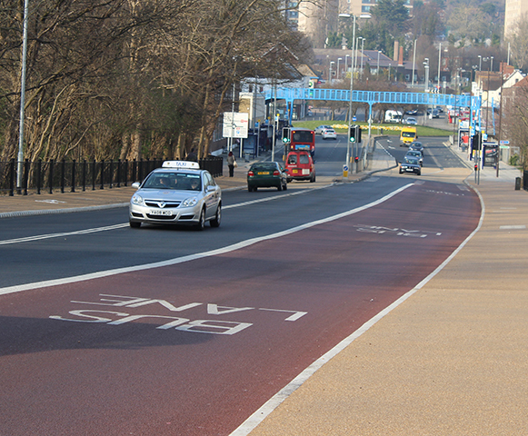 Busy road bridge renewed with resin bound surface