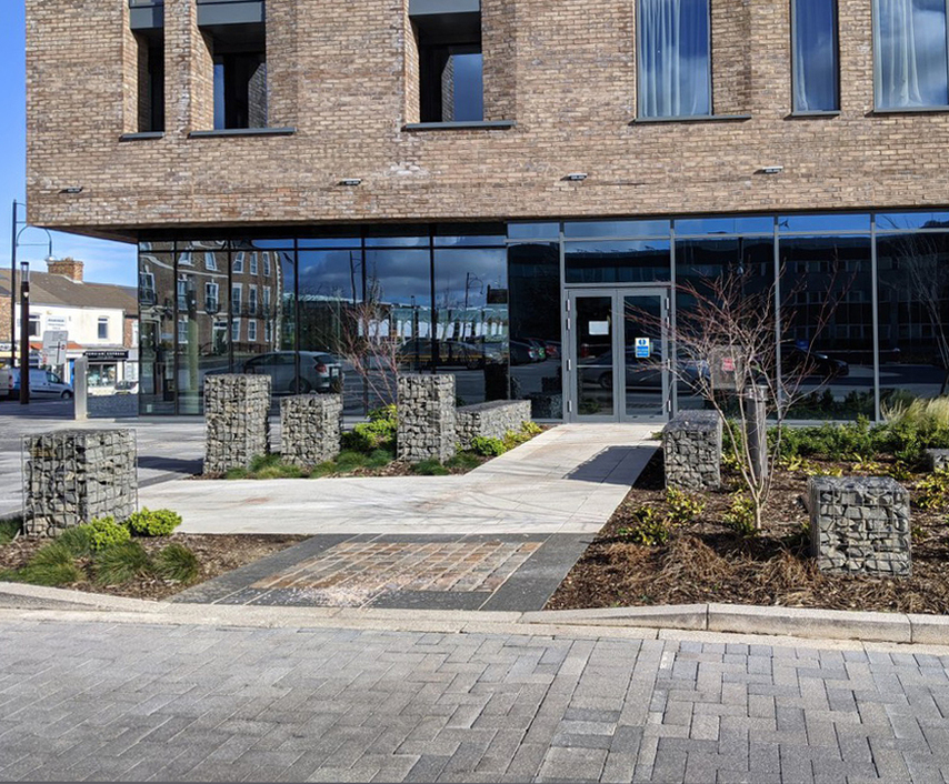 Gabion retaining wall systems for hotel and car park