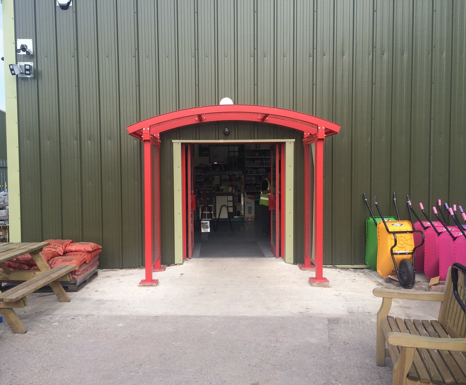 Entrance canopy at Huws Gray & Entrance canopy for Huws Gray builders merchant | AUTOPA Limited ...