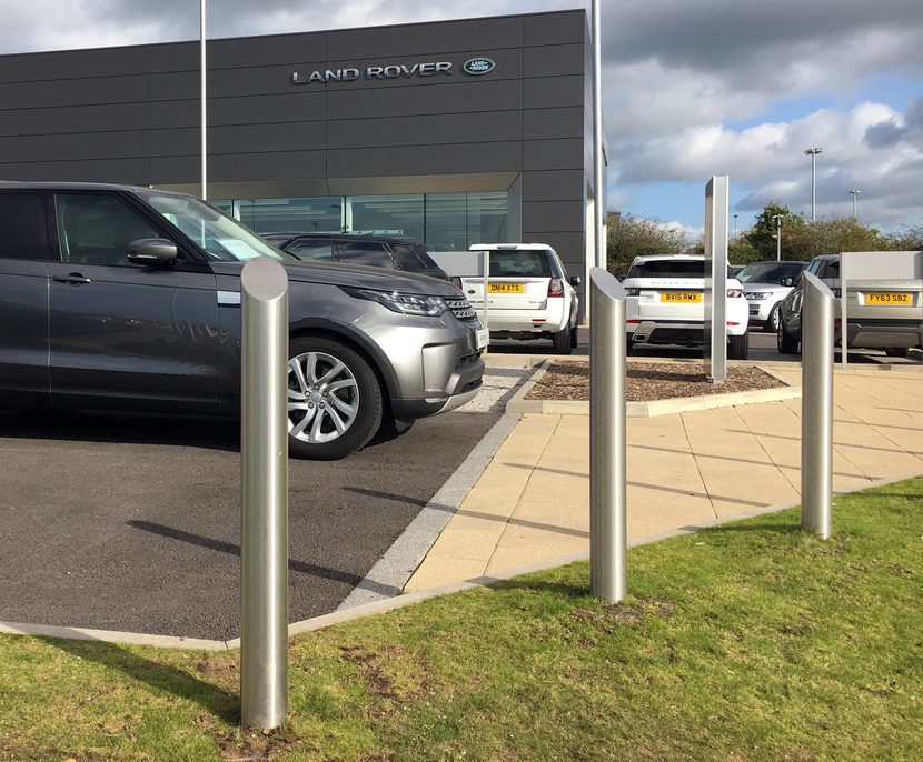 Mitre top bollards protect new Land Rover dealership