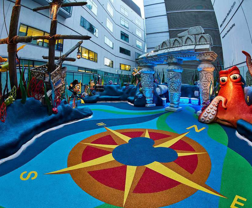 Wet pour surface for hospital's Disney-themed play area