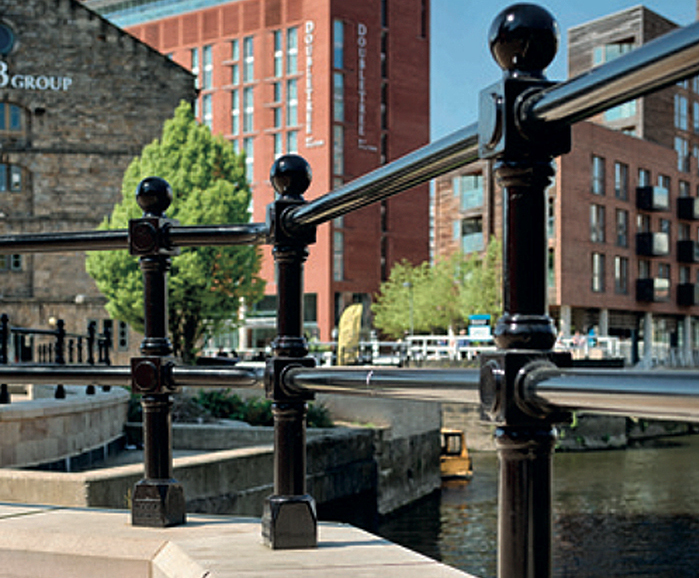 Durable post and rail system for waterfront FAS scheme