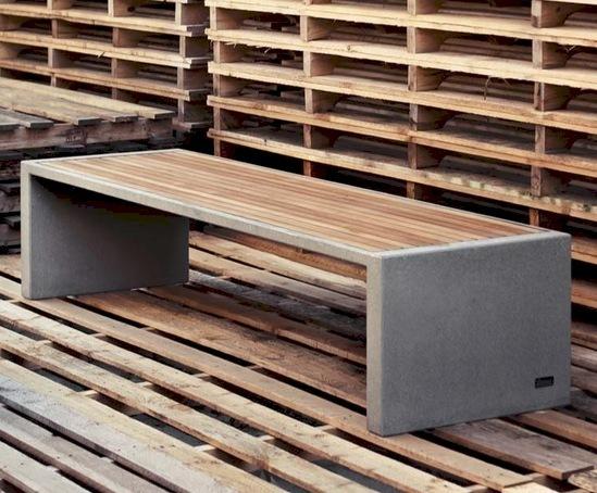 Escofet Prima Marina Concrete Bench With Teak Cladding
