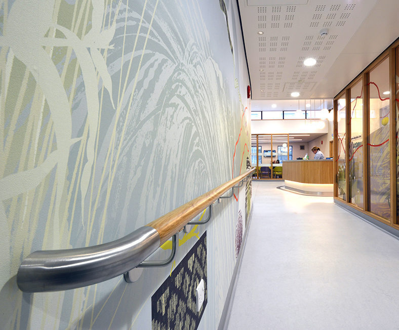 Curved oak handrail and Acrovyn protection for clinic
