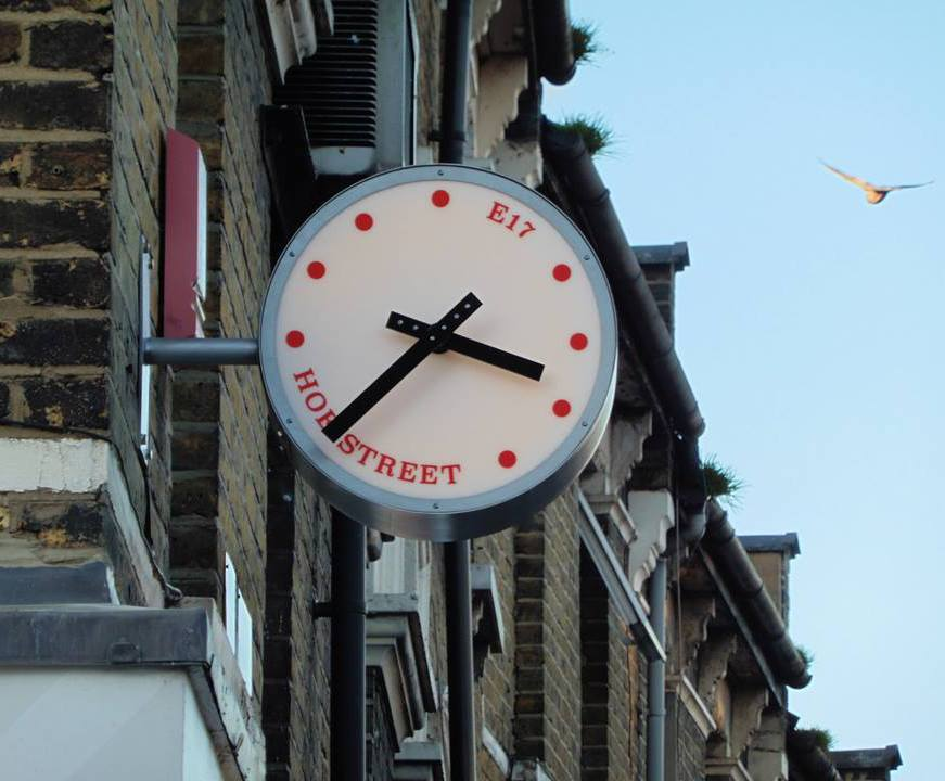 Bespoke illuminated drum clock for Hoe Street, E17