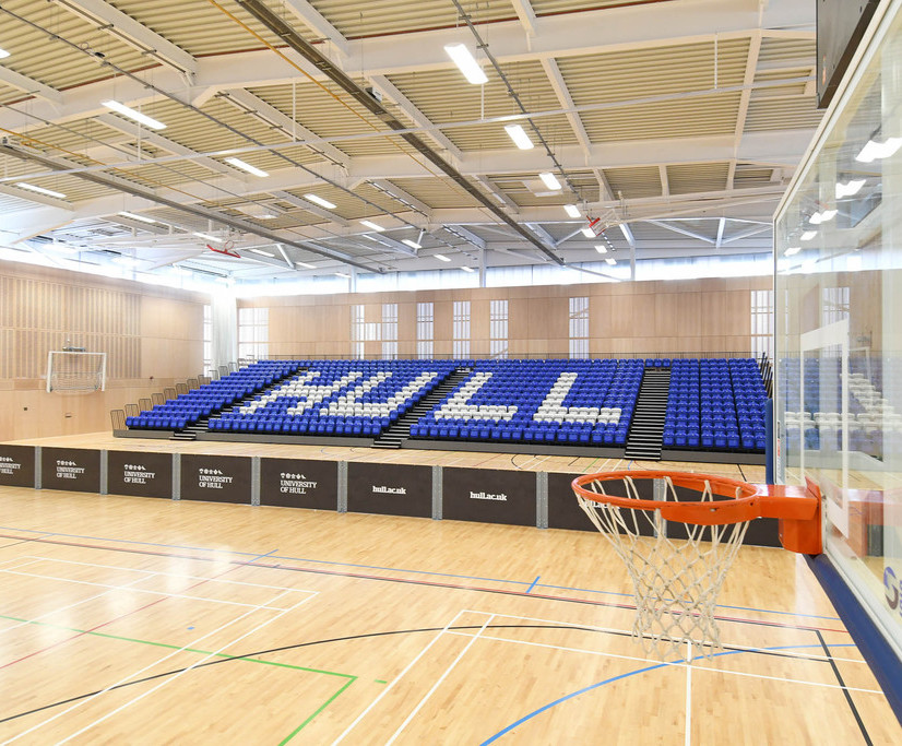 Nor-Ray-Vac radiant heaters for university sports centre