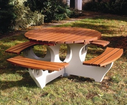 Round Concrete And Timber Picnic Table Bailey Streetscene ESI - Timber picnic table