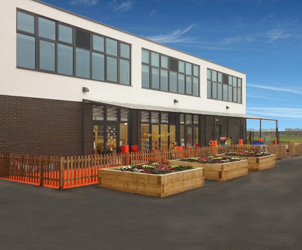 Canopy provides shelter for pupils & Canopies shelters and external furniture for schools | Bailey ...