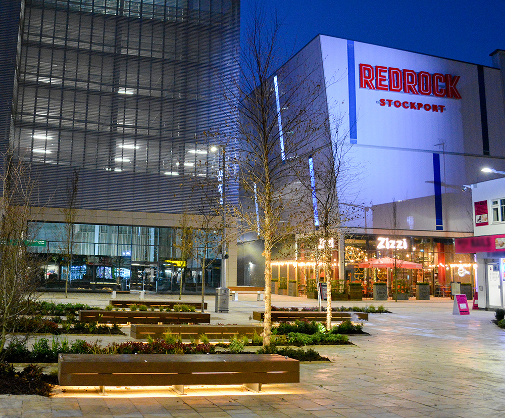 Street furniture for Stockport's Redrock leisure scheme