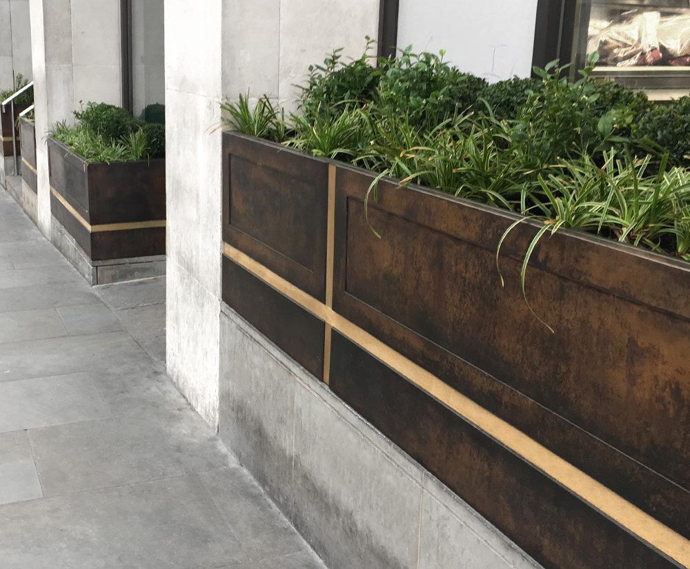 Bespoke patinated bronze planters - St James's Place