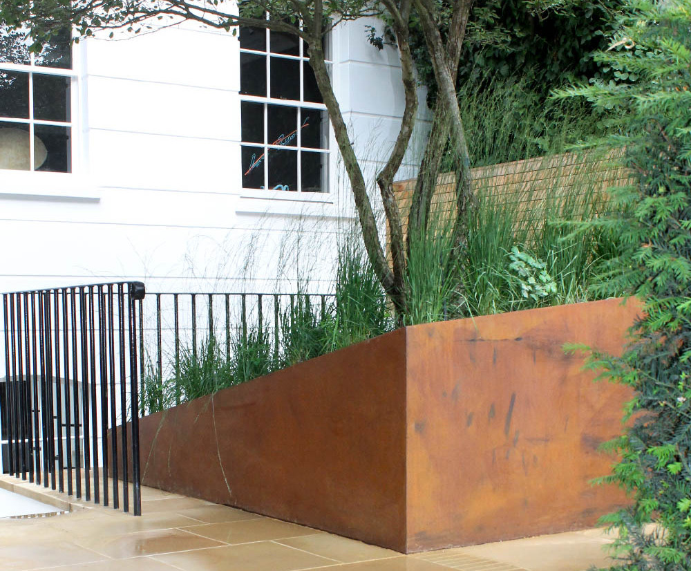 Large Asymmetric Corten Planter For London Courtyard Outdoor