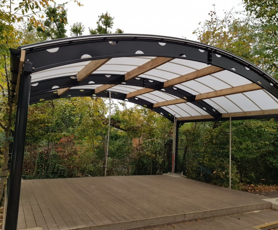 Bespoke steel and polycarbonate shelter & Bespoke steel canopy for primary school shelter | Setter Shelters ...